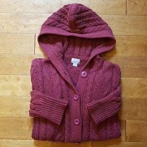 Caslon Chunky Knit Hooded Cardigan size M